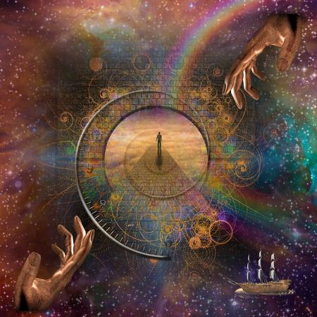 Eternal Fantasy Sky Scape met Zeilschip Stockfoto