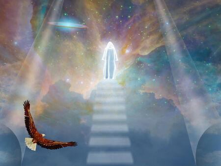 kingdom of heaven: A cloaked figure in heavens