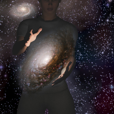 astral: Man holds galaxy between his hands