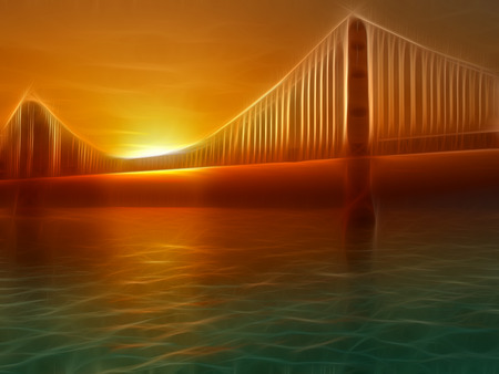 painterly: Golden Gate Bridge Painterly Illustration