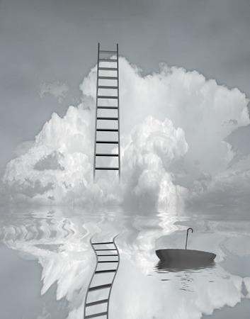 rungs: Escalera refleja en el agua con el paraguas flotante Foto de archivo
