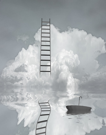 Ladder reflected in water with floating umbrella