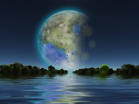 reflection of life: Terraformed Luna rises over water