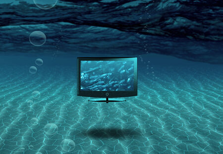 Flat Panel Floats in Sea Stock Photo