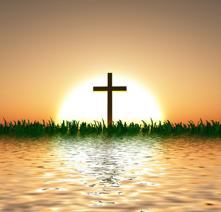 spiritual light: Sunset or sunrise with cross and water Stock Photo