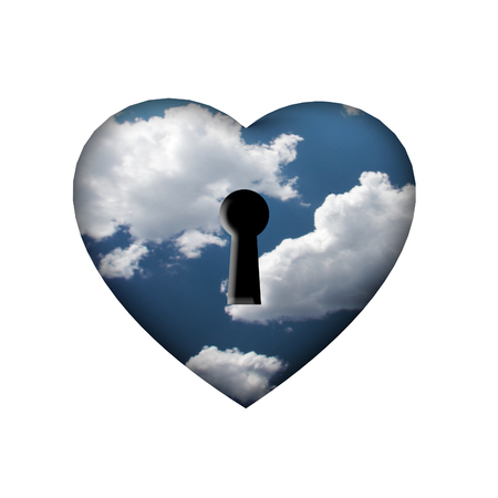 Heart with key in clouds photo