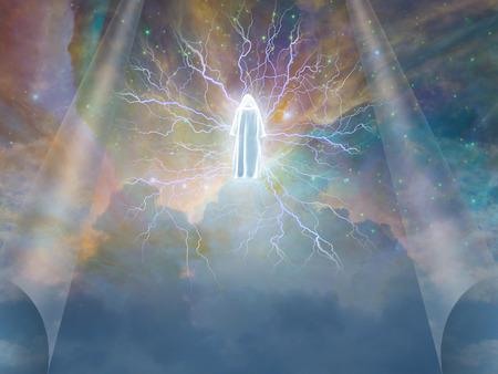 Figuur straalt elektriciteit in hemel Stockfoto
