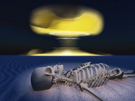 detonation: Skeleton in raveged land and nuclear detonation Stock Photo