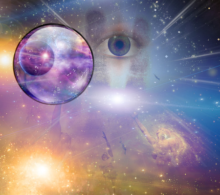 mind body soul: People soaring toward light amongst stars