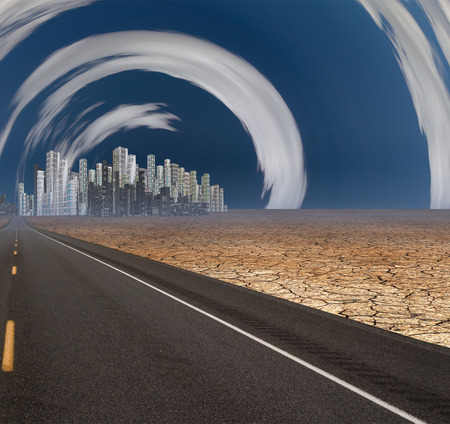 parched: Gleaming city in desert with surreal clouds