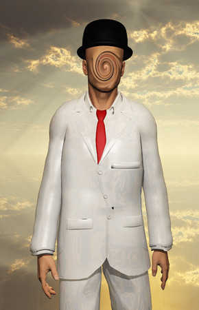 unreal unknown:  Man in white Suit Face Obscured Stock Photo