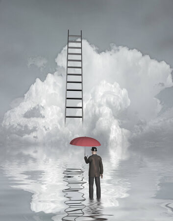 Man in floood with ladder above photo