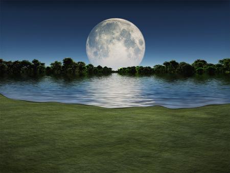 Lever de lune sur le lac Banque d'images - 30664435