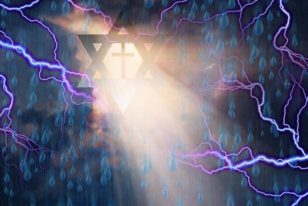 jews: Star of David and Cross in Storm with God Rays Stock Photo