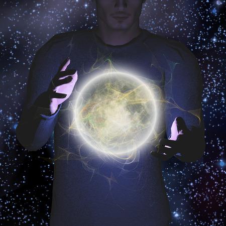 fantasy world: Bright moon hovers between mans palms