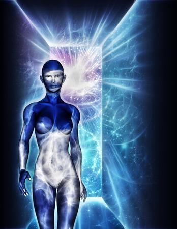 alien women: Woman emerges from doorway Stock Photo