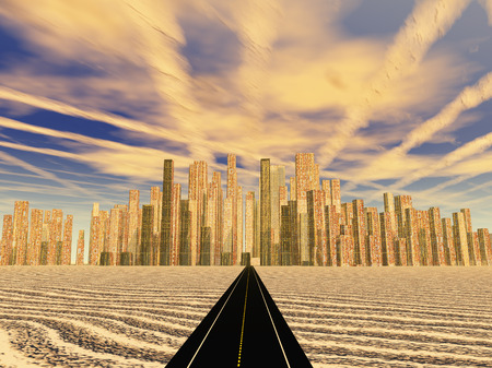 Road leads to gleaming desert city photo