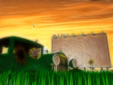 Old rusting truck and billboard with flowers painting photo