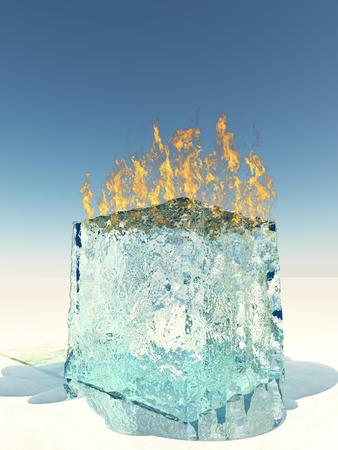 antagonistic: Burning Ice Cube Stock Photo