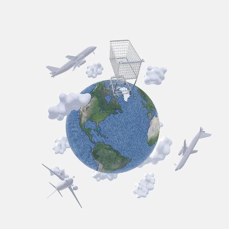 Aircraft above earth and shopping cart Reklamní fotografie