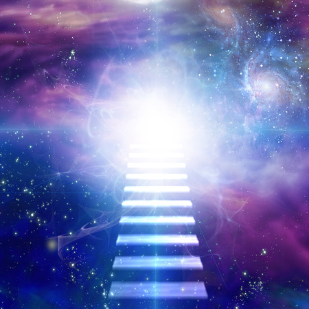 spirituality: Steps up into cosmos Stock Photo