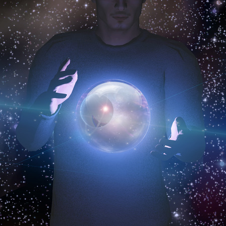 Man holds planet and space in sphere between his hands photo