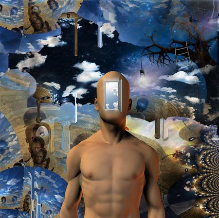 metaphysics: Door opened to mans mind Stock Photo