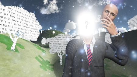 mind body soul: Man showing inner light in landscape with text paper trees