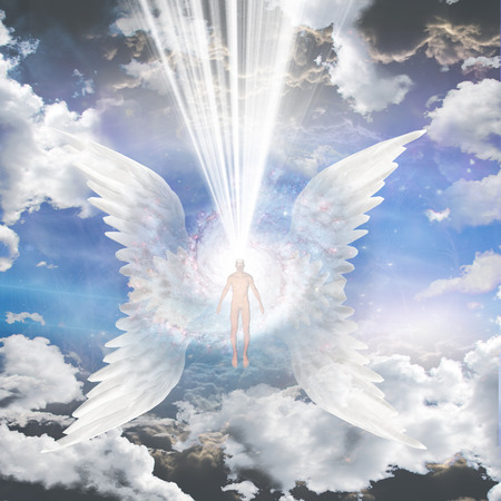 Angel composed of galaxy Stock Photo