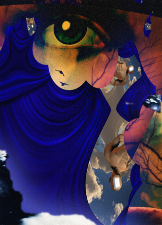 man looking at sky: Surreal abstract with human face