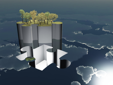 freestanding: Puzzle peice oasis with sky reflecting