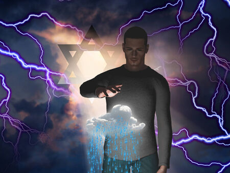 rages: Star of David and Man Levitaes Cloud while Storm Rages behind Him