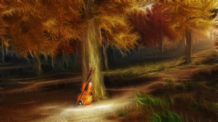 fantasy: Autumnal forest with violin Stock Photo