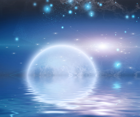 Moonrise over water photo