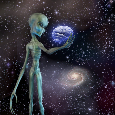 Alien ponders human brain photo