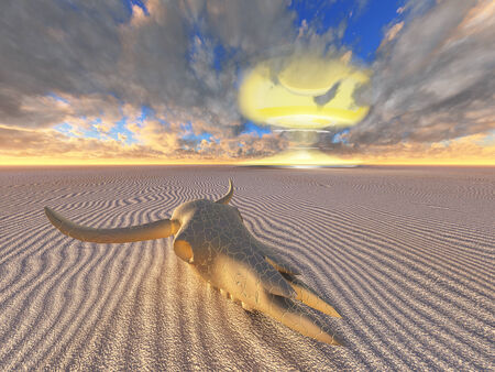 end times: cow skull and nuclear explosion in desert