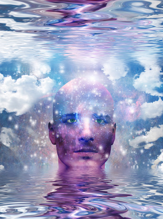 understand: Mans head with stars and clouds