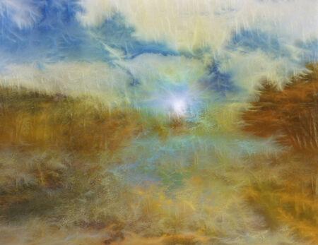 pintura abstracta: Painterly Paisaje Agua Foto de archivo