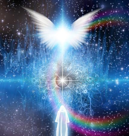 Duchowe sceny sci fi z aniołem i zamaskowane postaci Zdjęcie Seryjne