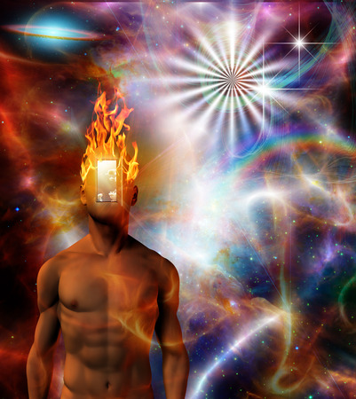 Burning mind in cosmic space photo