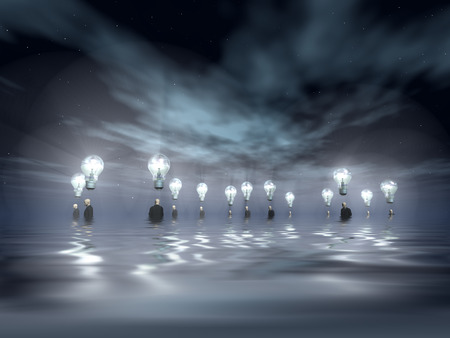 brilliant   undersea: Flooding Men with Ideas Stock Photo