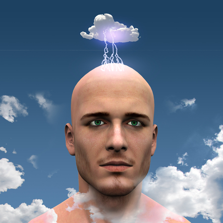 brain storm: Man with Head in clouds