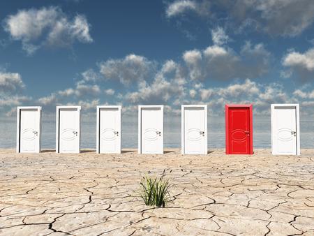 red door: One red door Stock Photo
