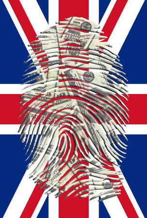 US Dollars Fingerprint with UK FLag photo