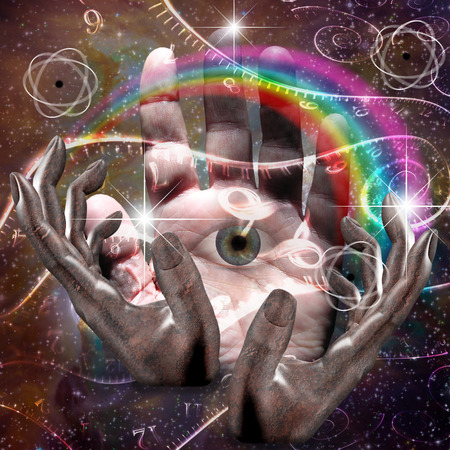 concept magical universe: Hands manipulate atomic or other properties of universe