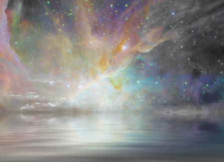 Quiet Waters and Starry Sky Standard-Bild