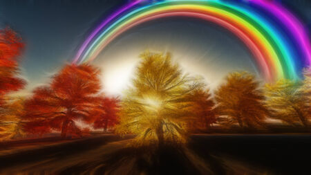 Painterly Autumnal Rainbow photo