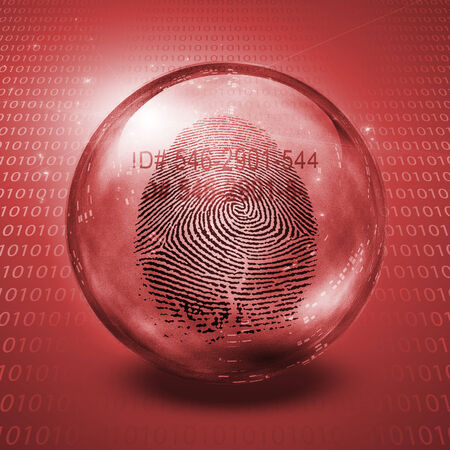 private information: Fingerprint contained in glass sphere with Id Number Stock Photo