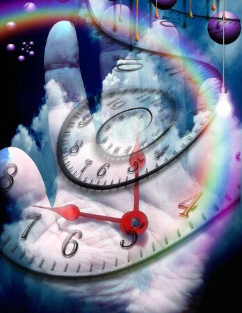 percepción: Mano humana con elementos de tiempo
