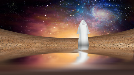 wandering: Desert and galactic sky with wandering cloaked figure Stock Photo